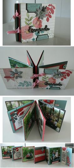 Okay, it's about a family vacation, but the colour scheme is Christmas-y and it looks great!!  Mini album accordéon - tutoriel