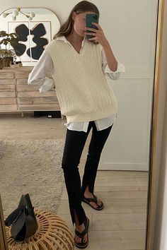 The Knit Vest Trend That's Taking Over This Fall   Who What Wear Vest Outfits For Women, Mode Outfits, Clothes For Women, Sweater Vest Outfit, Knit Vest, Sweater Vests, Fall Fashion Outfits, Winter Outfits, Fashion Trends