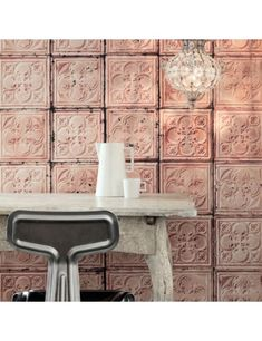 Are you interested in our Wallpaper TIN 06 Merci? With our Brooklyn Tin Tiles Wallpaper NLXL you need look no further. Textures Murales, Interiores Shabby Chic, Shabby Chic Design, Tile Wallpaper, Wallpaper Designs, Wallpaper Roll, Flamingo Wallpaper, Textured Wallpaper, Wallpaper Ideas