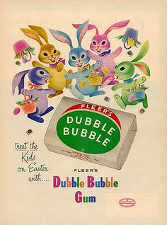 Vintage Chewing Gum ad for Dubble Bubble Retro Advertising, Old Advertisements, Retro Ads, Vintage Candy, Vintage Holiday, Vintage Metal, Vintage Prints, Vintage Posters, Kitsch
