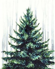 3eea43c4e6cf Christmas Tree in the Woods Watercolor Painting Art Print Christmas Decor  Evergreen Tree Print Forest Print Green Canvas Art Gift for Her
