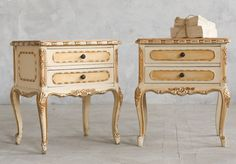 One Of A Kind Vintage Shabby Chic Louis XV French Style Cream Gilt  Nightstands Pair