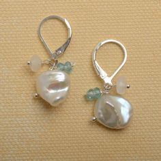 pearl drop earring white pearl teal apatite earrings by izuly, $34.00