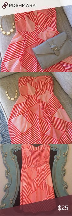 """Orange and Cream Strapless Dress Light and comfy strapless dress perfect for any occasion. Elastic back for some extra give, double lined. Excellent condition. Length approx 26"""", waist approx 13"""" (however keep in mind back is elastic so can stretch if needed). Dresses Strapless"""