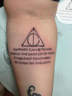 Childhood Was Used To Be Awesome With Harry Potter. It made us laugh, it made us cry but above all it thought us about the most important lessons in life like friendship and love. This craze after all this time? My harry potter tattoo - beautiful Tattoo Tod, Hp Tattoo, Piercing Tattoo, Get A Tattoo, Tattoo Quotes, Tattoo Small, Tattoo Flash, Beautiful Meaningful Tattoos, Meaningful Tattoos For Women