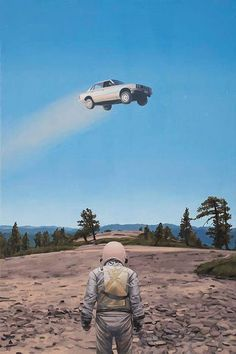 New paintings by artist Scott Listfield of a lone exploratory astronaut lost in a landscape cluttered with pop culture icons, corporate logos, and tongue-in-cheek science fiction references. Planet Love, Major Tom, Aesthetic Photography Nature, Outside World, Retro Futurism, Outer Space, American Artists, Aliens, Les Oeuvres