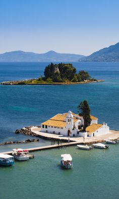 Monastery and Mouse island in Corfu, Greece
