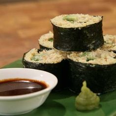 Try this Nori Rolls with Millet and Avocado recipe by Chef Janella Purcell . This recipe is from the show Good Chef / Bad Chef. Wrap Recipes, Chef Recipes, Whole Food Recipes, Cooking Recipes, Vegan Recipes, Savory Snacks, Lunch Snacks, Healthy Snacks, Healthy Eating