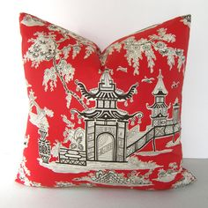 New - Both Sides - Decorative Chinoiserie Pillow Cover - Asian - Pagoda - Lacquer Red - Brown and Ivory