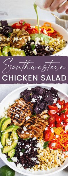 This Southwestern Salad is topped with seasoned grilled chicken, crisp veggies, avocado, crunchy blue corn tortilla chips, grilled corn, black beans, and a creamy cilantro lime dressing.