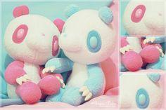 pink and blue gloomy panda plush