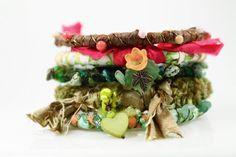 Fabric and fibers Bangle Bracelet Stack Gypsy Bohemian Silk Wrap Bracelet by #WrappedInLeather, $48.95 #jetteam #jewelryonetsy