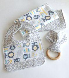 Gender Neutral Gift Set/Baby Gift Set- 2 Burp cloths, wooden teething ring, baby bib $32.50