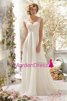2015 V Neck A Line Wedding Dress Chiffon With Beads And Applique Court Train US$ 179.99 MDPG5H286J - MordenDress.com for mobile