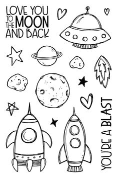 To The Moon To The Moon - Jane's Doodles<br> clear stamp set. Comprises of 15 hand drawn stamps made in the UK from high grade photopolymer. Space Drawings, Doodle Drawings, Easy Drawings, Bullet Journal Doodles, Doodle Art Journals, Space Doodles, Winter Drawings, Simple Doodles, Doodle Art Simple