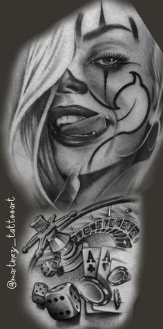 Chicanas Tattoo, Skull Girl Tattoo, Clown Tattoo, Girl Tattoos, Hand Tattoos For Guys, Sexy Tattoos For Girls, Gangster Clown, Bio Organic Tattoo, Chicano Style Tattoo
