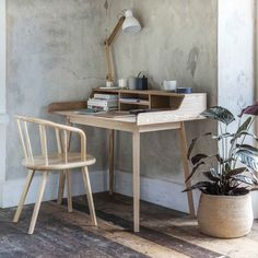 Ash Wood Desk by Idyll Home, the perfect gift for Explore more unique gifts in our curated marketplace. Space Saving Desk, Desk Space, Ideas Prácticas, Grey Desk, Desk Areas, Home Office Desks, Zen Home Office, Cottage Office, Office Spaces