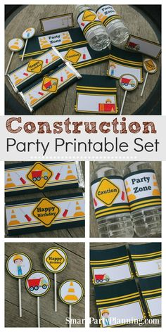 A construction birthday party is an ideal choice for those little ones that love building things.or tearing things apart! These construction party printables will help provide easy party decoration on a budget. DIY party decoration doesn't have to be di Birthday Party Tables, Birthday Crafts, Boy Birthday Parties, Birthday Cupcakes, 3rd Birthday, Birthday Ideas, Happy Birthday, Birthday Recipes, Husband Birthday