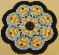 Sweet As Honey Sunflowers & Bees Penny Rug Candle Mat E-pattern