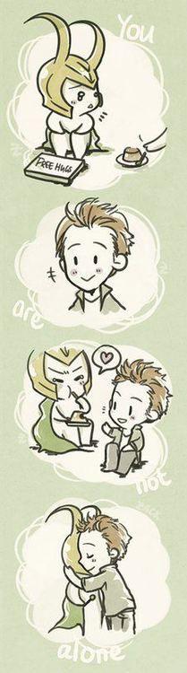 Loki and Tom Hiddleston --Tom gives Loki pudding and a much-needed hug