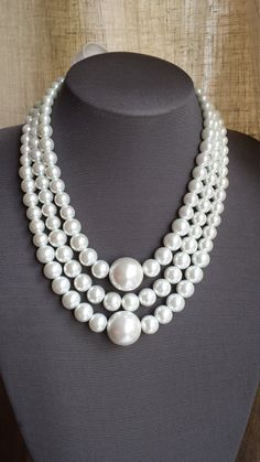Pearl Statement Necklace Chunky Bridal Necklace by FashionLILLA