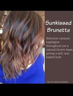 Sun kissed brunette... Caramel highlights on natural brown...