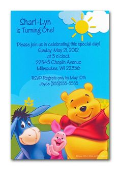 Winnie the Pooh and Friends Adventure Invitation features Winnie the Pooh, Eeyore and Piglet on a patch of grass. There is a bright blue sky and yellow sun background Disney Invitations, Baby Shower Invitations, Birthday Invitations, Baby Shower Images, Eeyore, Special Day, Winnie The Pooh, Rsvp, Baby Shower Gifts