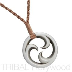 A TRIKORU Maori Koru Braided Rope Tribal Pendant Necklace. Men's. Represents…