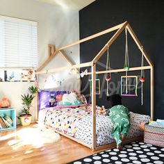"""""""Our shop was opened in 2015 autumn and this is the 1st photo received from customer."""" Toddler Floor Bed, Toddler Bed Frame, Kids Bed Frames, Wood Nursery, Nursery Bedding, Bedding Sets, Nursery Furniture, Kids Furniture, Black Wood Bed Frame"""
