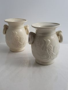 Vintage 1930s white glazed pottery vases relief design water bird and lotus leaves Made in Japan by CircularVintage on Etsy