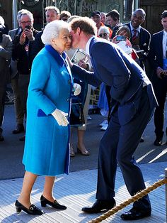 Prince Harry embraced Queen Elizabeth at the Chelsea Flower Show in London on Monday, May 18.