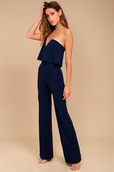 92da8a3771cb 17 Best Black Strapless Jumpsuit images | Black strapless jumpsuit ...