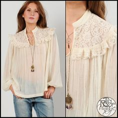 Vintage 70s Cream Gauze Lace Poet Blouse XS M Top Hippie Boho Gypsy Sheer | eBay