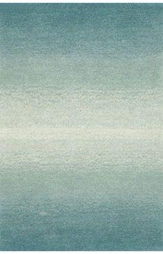 Family room rug - like that it has a hint of soft aqua. Trans Ocean Ombre Horizon Aqua Rug