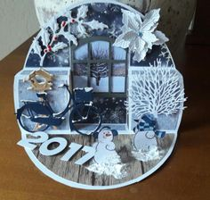 470.713.304 Winter Christmas, Christmas Cards, Window Cards, Marianne Design, Homemade Cards, Paper Crafting, Pop Up, Snow Globes, Birthday Cards