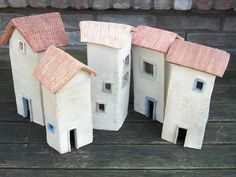Clay Houses, Putz Houses, Ceramic Houses, Village Houses, Paper Houses, Miniature Houses, Mini Houses, Small Houses, Pottery Houses