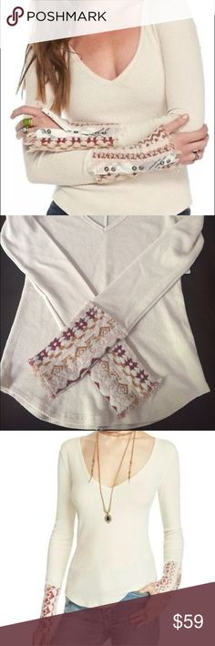 Free People Cuff Thermal Beautiful taupe free People Thermal with burgundy contrast Cuff details nwt . Super stretchy and great sold out size and style Free People Tops