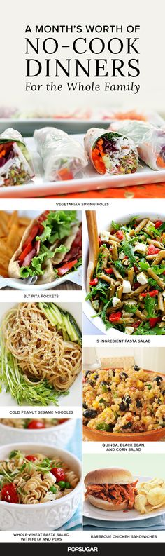 Skip the stove skip the oven and serve up one of these easy heat-free meals inst… - CAMPİNG MAT Quick Meals, No Cook Meals, No Oven Meals, Freezer Meals, No Heat Lunch, Vegetarian Spring Rolls, Cooking Recipes, Healthy Recipes, Kid Recipes