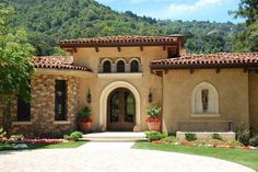 65 Exterior House Colors For Stucco Homes - About-Ruth Mediterranean Architecture, Mediterranean Style Homes, Spanish Style Homes, Spanish House, Spanish Colonial, Mediterranean House Exterior, Spanish Bungalow, Spanish Design, Stucco Exterior