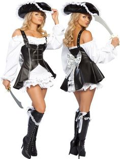 PS042 Women sexy halloween pirate cosplay carnival dress disfraces christmas costumes kigurumi fancy vestidos black and white