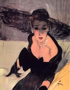 Christian Dior evening dress illustrated by Rene Gruau, 1947