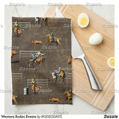 Western Kitchen Decor, Rodeo Events, Cowboy And Cowgirl, Artwork Design, Kitchen Towels, New Kitchen, Westerns, Monogram, Tea Towels