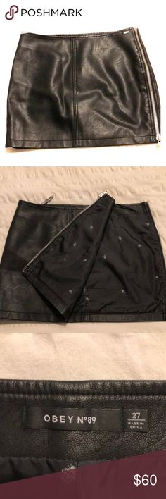 Obey black leather skirt Only worn twice. I bought it about a year ago and it doesn't fit anymore. Great condition. Obey Skirts Mini