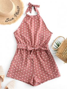 Cute Belted Open Back Knotted Polka Dot Romper - Khaki Rose Occasion: Daily,Going Out,Vacation Style: Fashion Fit Type: Regular Length: Mini Collar-line: Halter Sleeves Length: Sleeveless Material: Cotton,Spandex Pattern Type: Polka Dot Girls Fashion Clothes, Teen Fashion Outfits, Look Fashion, Hijab Fashion, Fashion Tips, Cute Summer Outfits, Cute Casual Outfits, Pretty Outfits, Rompers For Teens
