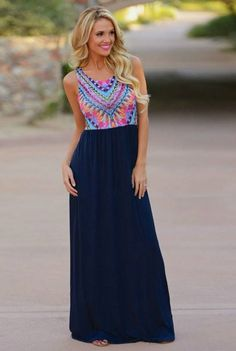 You'll be the life of the party anywhere you go in this beautiful maxi! Featuring a sleeveless retro print top with a chiffon bottom. Pair with a cute pair of sandals and you're ready for anything. Av