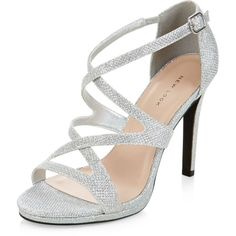 New Look Silver Glitter Strappy Heels ($31) ❤ liked on Polyvore featuring shoes, pumps, heels, silver, high heeled footwear, silver heel pumps, glitter heel pumps, strap pumps and silver glitter pumps