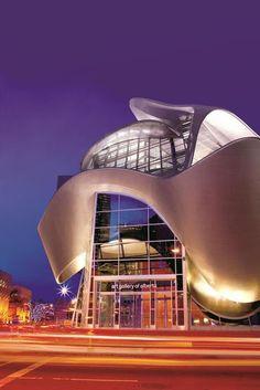 """Art Gallery of Alberta, Edmonton, Alberta, Canada. """" My"""" art gallery! Unique Buildings, Interesting Buildings, Amazing Buildings, Architecture Design, Beautiful Architecture, Contemporary Architecture, Innovative Architecture, Building Architecture, Building Facade"""