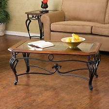Livingroom Coffee Table/ Accent Table with Glass Top Dark Cherry Finish