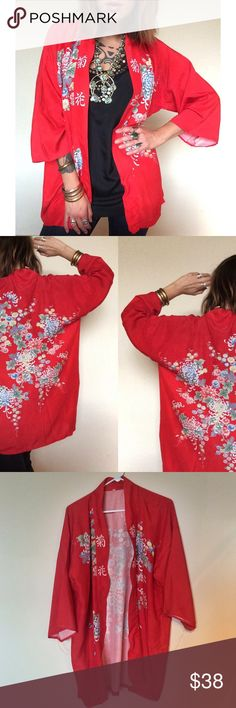 """""""Woman from Tokyo"""" vintage floral kimono Vibrant, punchy red, floral kimono. Midi length flowing fit with open front. Soft linen with front an back designs. Perfect for layering in the months to come. Wear it over a dress, or wit t shirt and jeans. One size fits all but I would call it a size large. Vintage Jackets & Coats"""