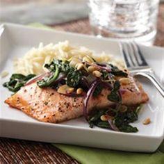 Honey Lemon Glazed Salmon with Spinach Saute Allrecipes.com